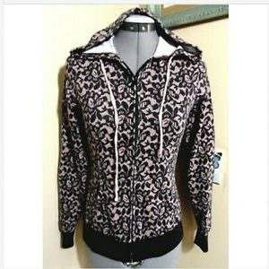 WET SEAL Lace print Hoodie Sweater S Black Pink LS